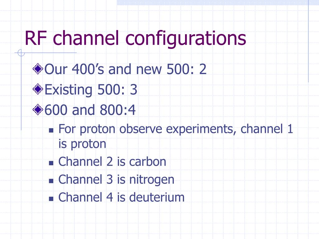 RF channel configurations