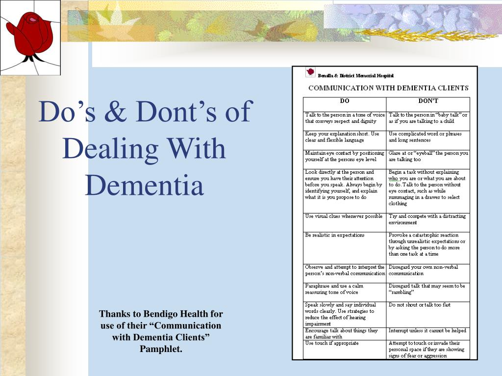 Do's & Dont's of Dealing With Dementia
