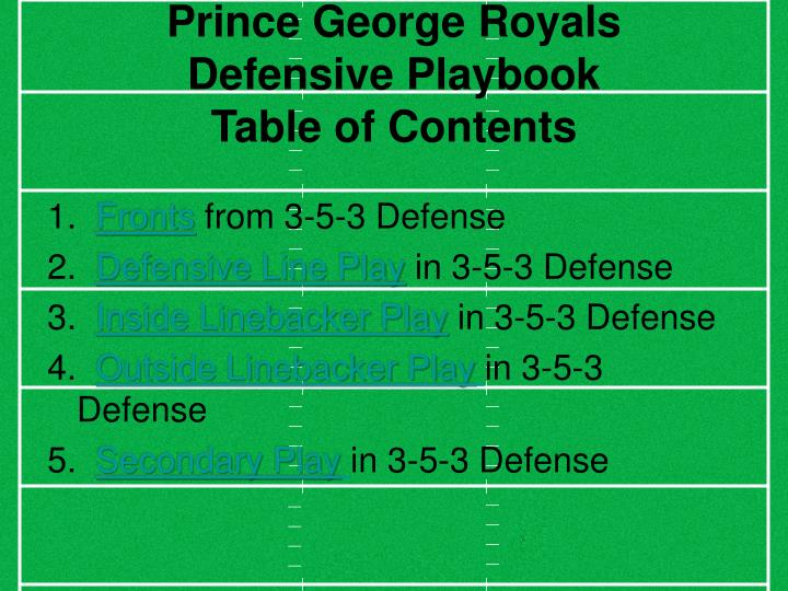 Prince george royals defensive playbook table of contents