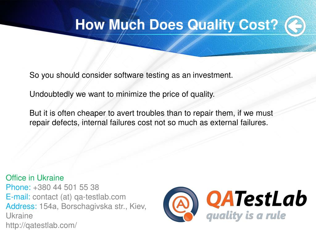 How Much Does Quality Cost?