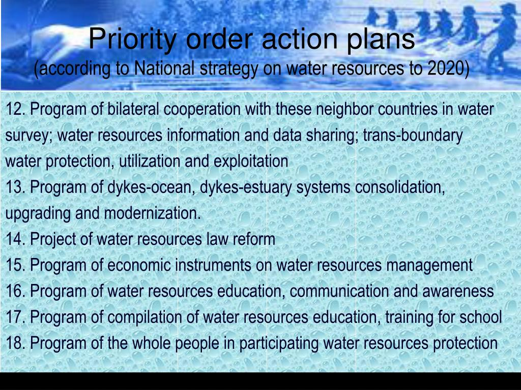 Priority order action plans