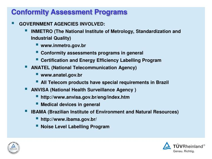 Conformity Assessment Programs