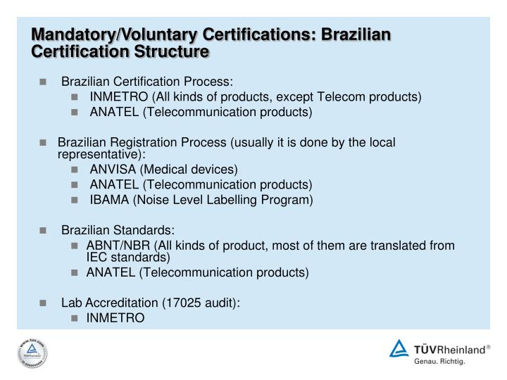 Mandatory/Voluntary Certifications: