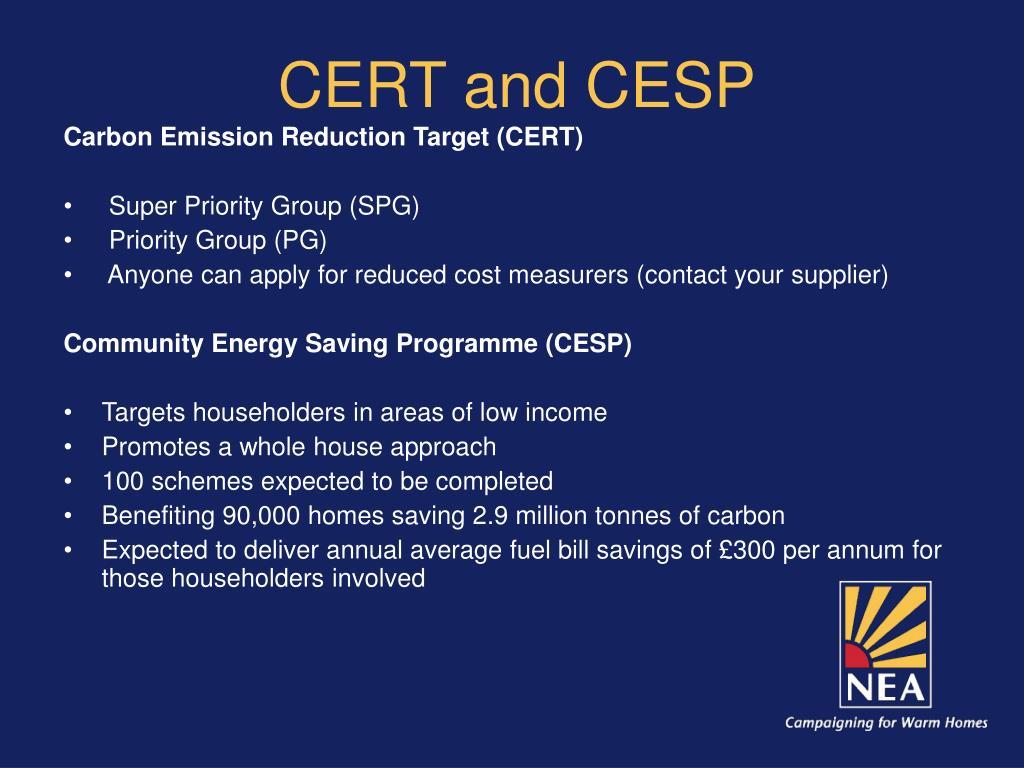 CERT and CESP