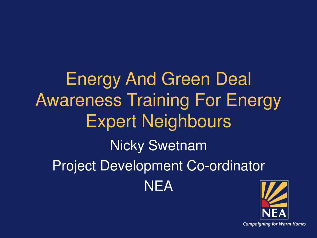 Energy And Green Deal Awareness Training For Energy Expert Neighbours