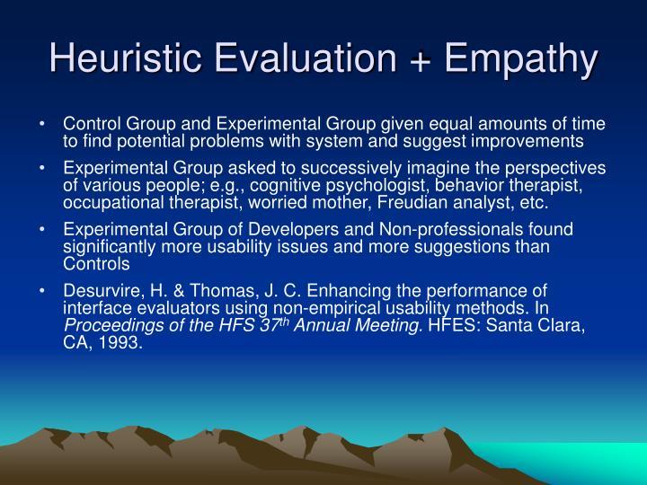 Heuristic Evaluation + Empathy