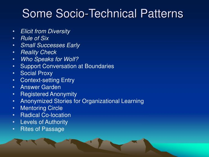 Some Socio-Technical Patterns