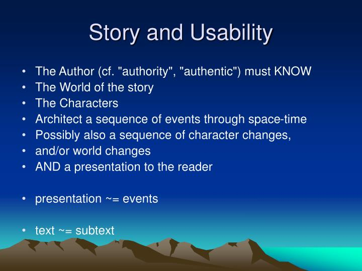 Story and Usability