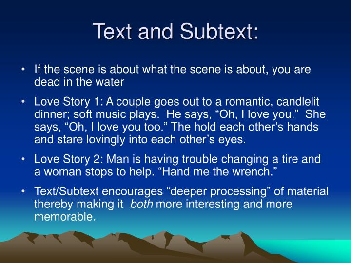 Text and Subtext: