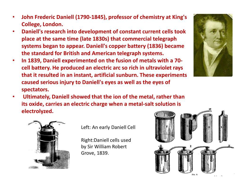 John Frederic Daniell (1790-1845), professor of chemistry at King's College, London.