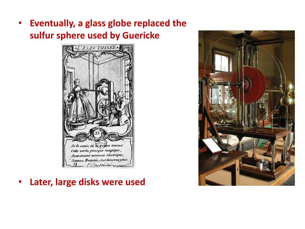 Eventually, a glass globe replaced the sulfur sphere used by Guericke