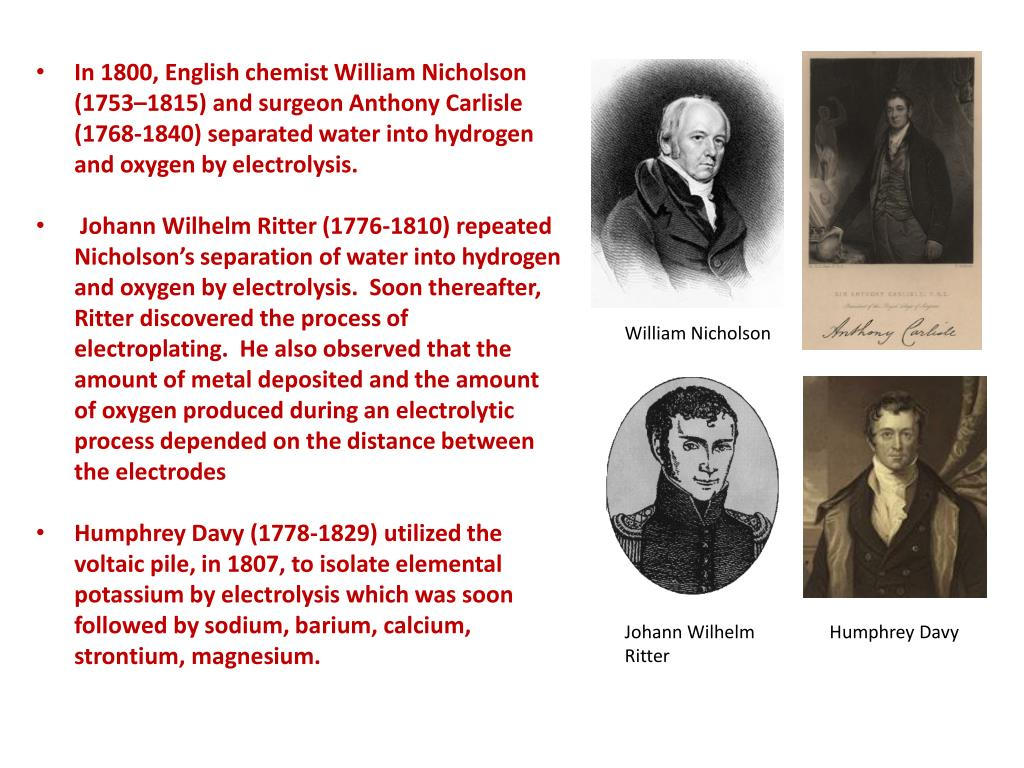In 1800, English chemist William Nicholson (1753–1815) and surgeon Anthony Carlisle (1768-1840) separated water into hydrogen and oxygen by electrolysis.