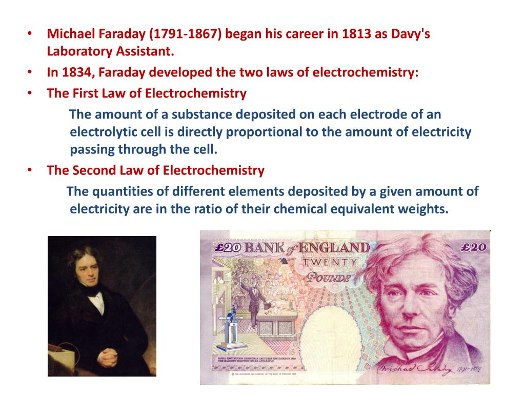 Michael Faraday (1791-1867) began his career in 1813 as Davy's Laboratory Assistant.