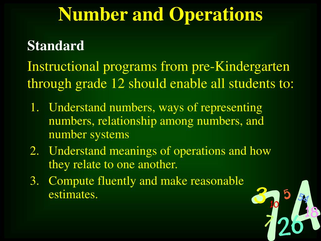 Understand numbers, ways of representing numbers, relationship among numbers, and number systems