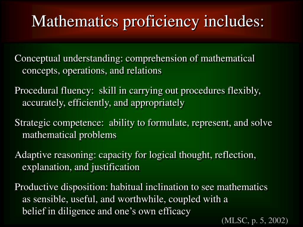 Mathematics proficiency includes: