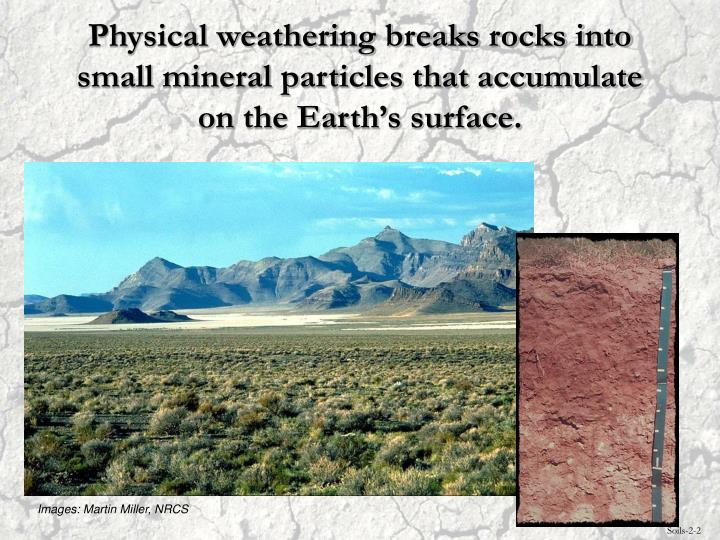 Physical weathering breaks rocks into small mineral particles that accumulate on the Earth's surface.