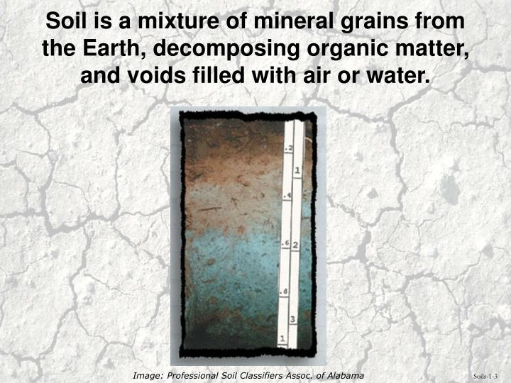 Soil is a mixture of mineral grains from the Earth, decomposing organic matter, and voids filled with air or water.