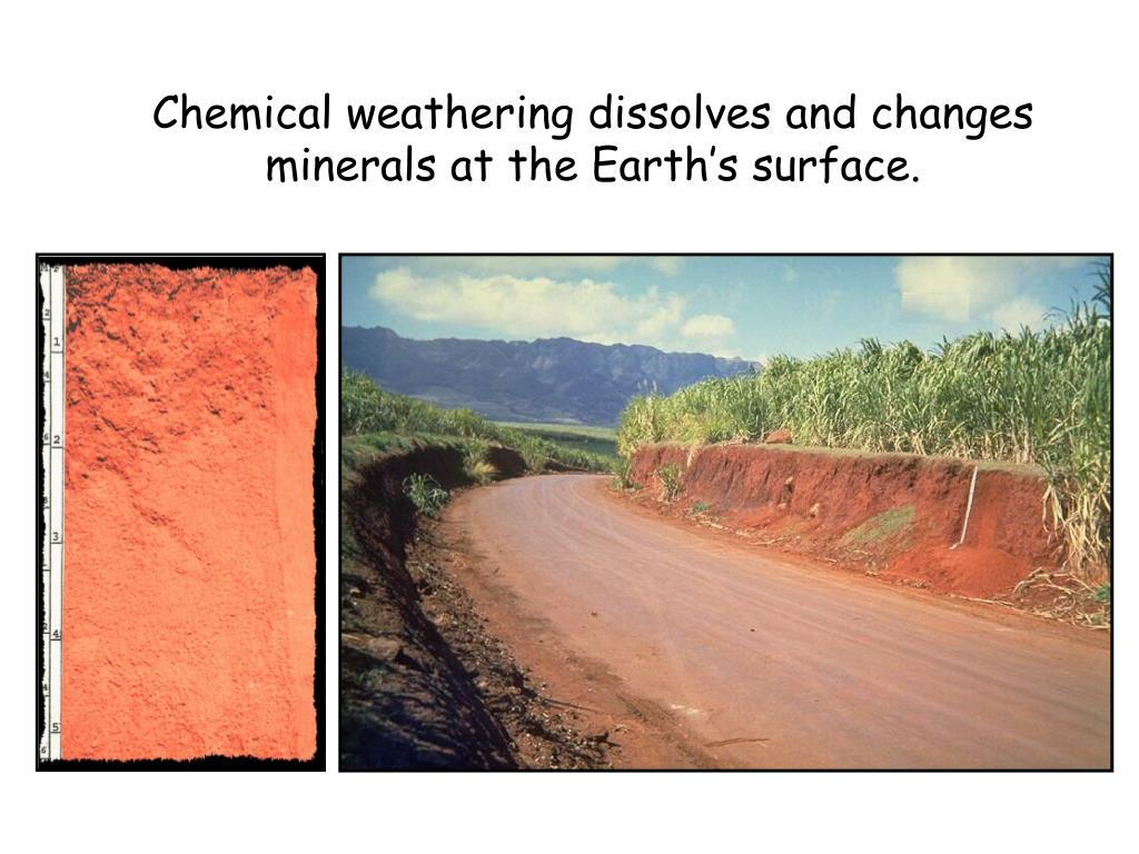Chemical weathering dissolves and changes minerals at the Earth's surface.