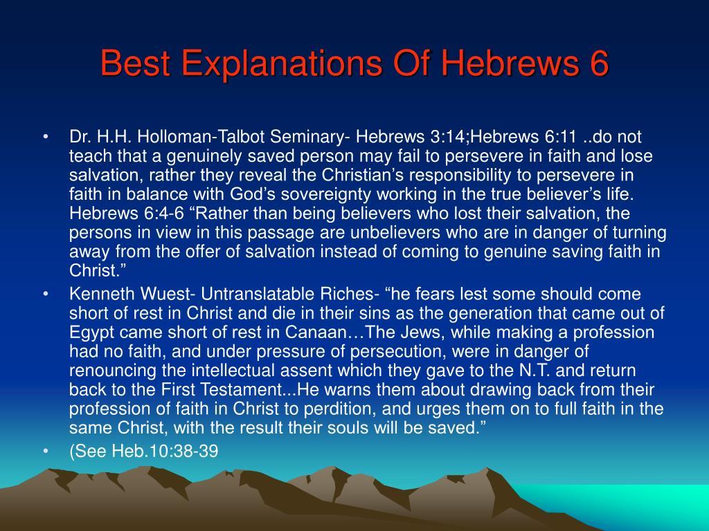 Best Explanations Of Hebrews 6