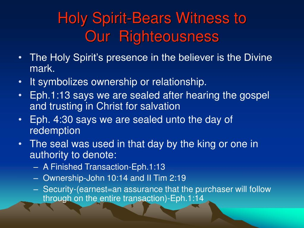 Holy Spirit-Bears Witness to
