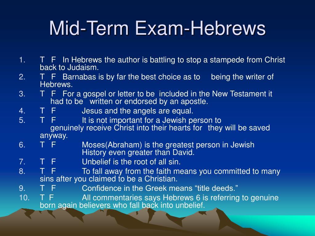 Mid-Term Exam-Hebrews