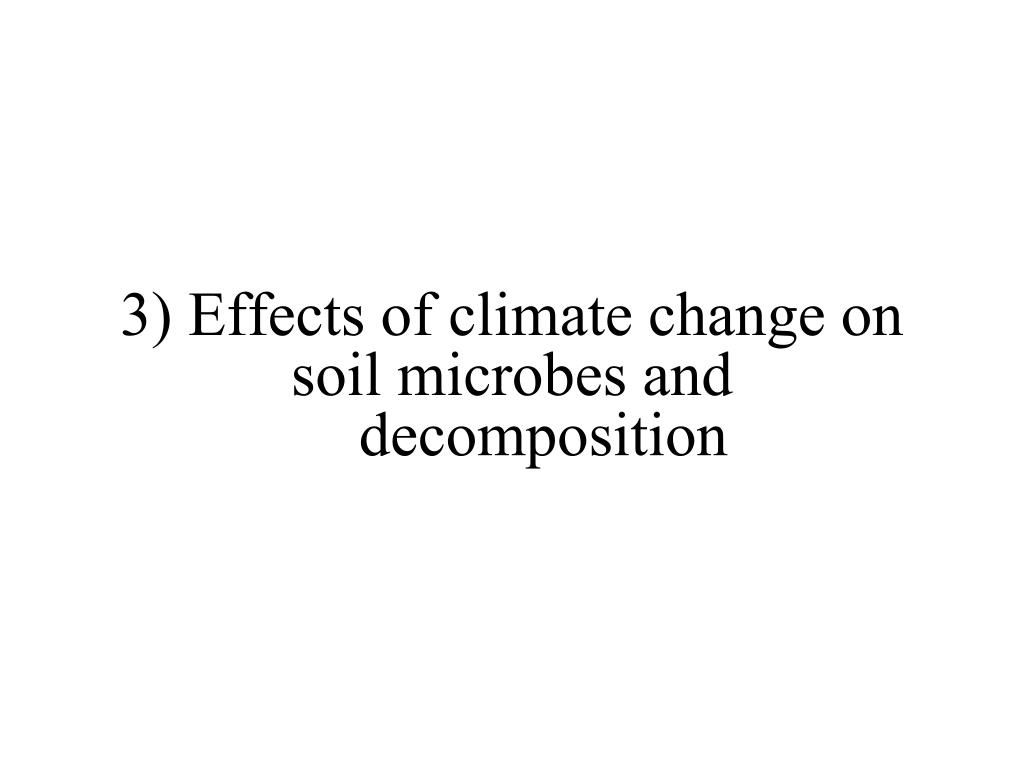 3) Effects of climate change on soil microbes and