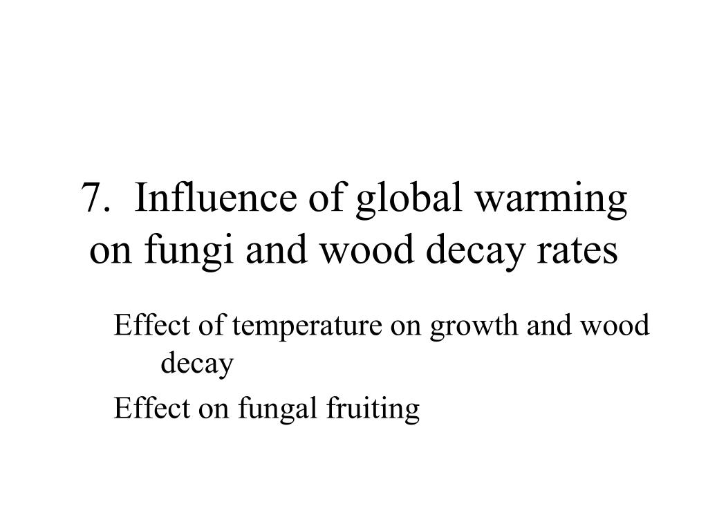 7.  Influence of global warming on fungi and wood decay rates