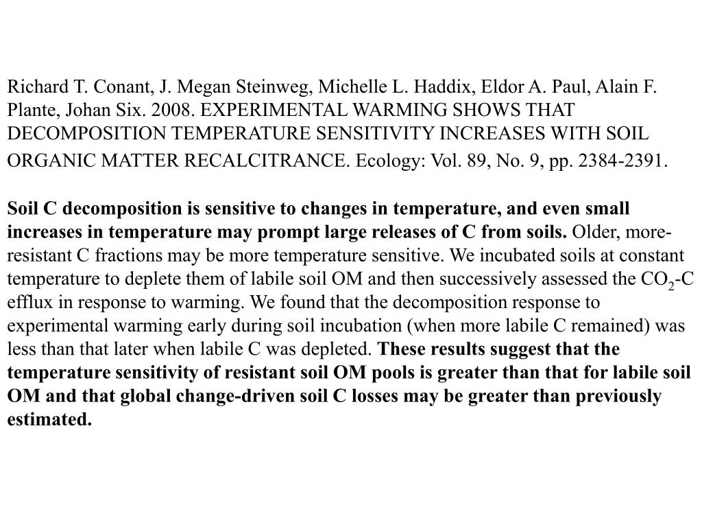 Richard T. Conant, J. Megan Steinweg, Michelle L. Haddix, Eldor A. Paul, Alain F. Plante, Johan Six. 2008. EXPERIMENTAL WARMING SHOWS THAT DECOMPOSITION TEMPERATURE SENSITIVITY INCREASES WITH SOIL ORGANIC MATTER RECALCITRANCE. Ecology: Vol. 89, No. 9, pp. 2384-2391.