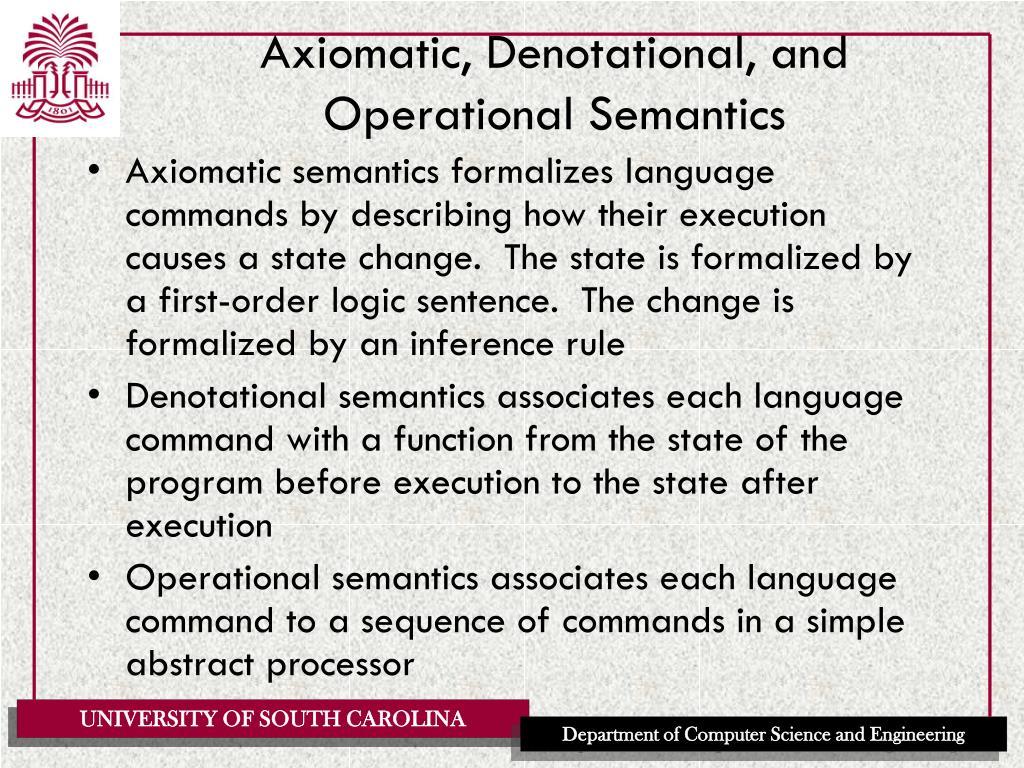 Axiomatic, Denotational, and Operational Semantics