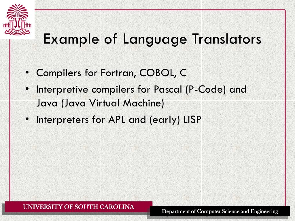 Example of Language Translators