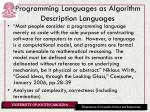 programming languages as algorithm description languages