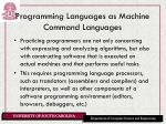 programming languages as machine command languages