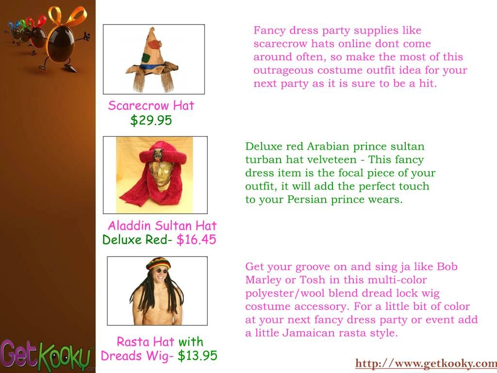 Fancy dress party supplies like scarecrow hats online dont come around often, so make the most of this outrageous costume outfit idea for your next party as it is sure to be a hit.