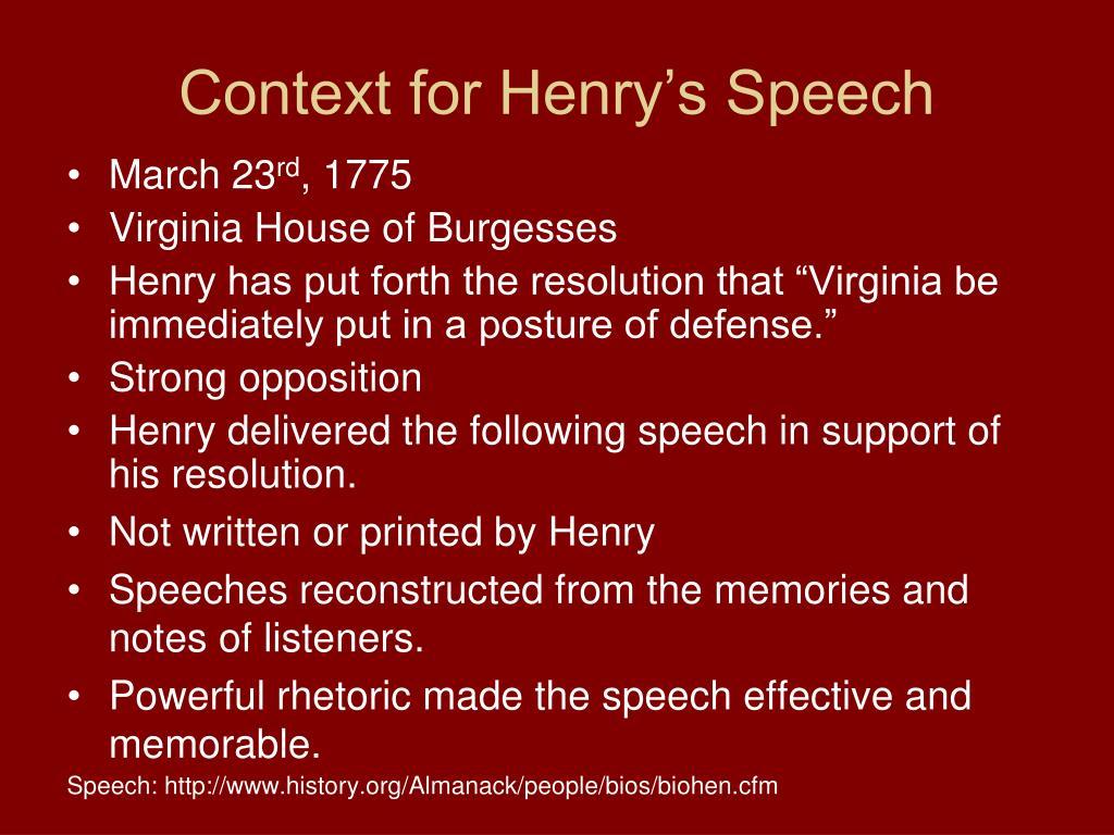Context for Henry's Speech