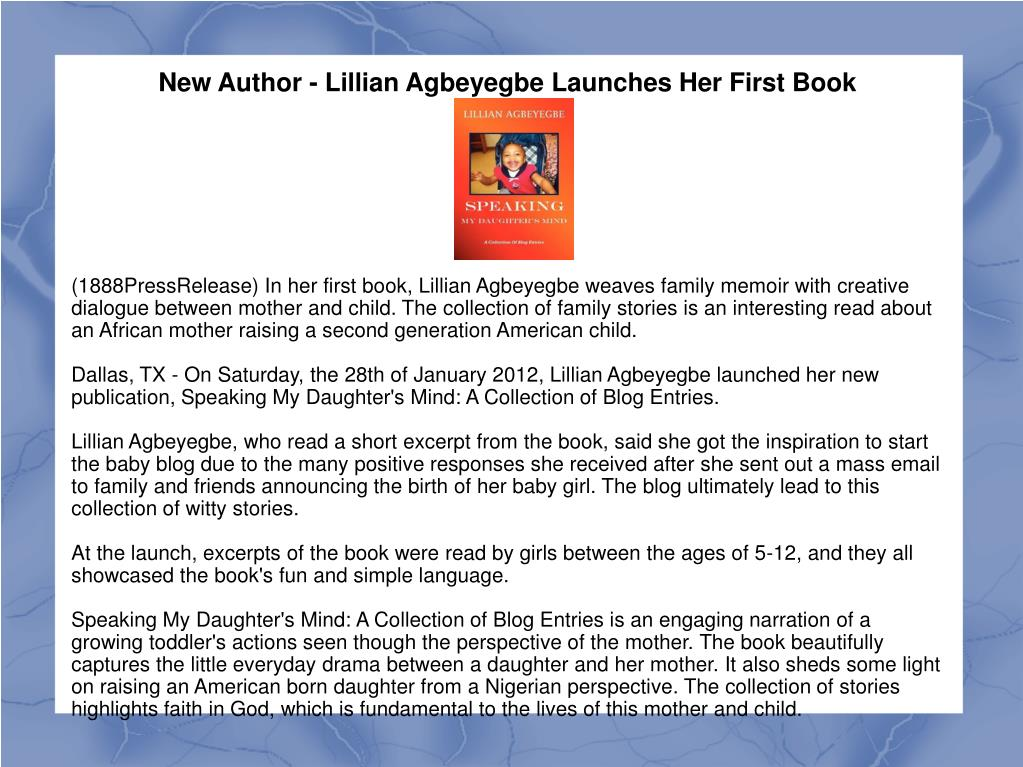 New Author - Lillian Agbeyegbe Launches Her First Book