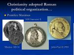 christianity adopted roman political organization