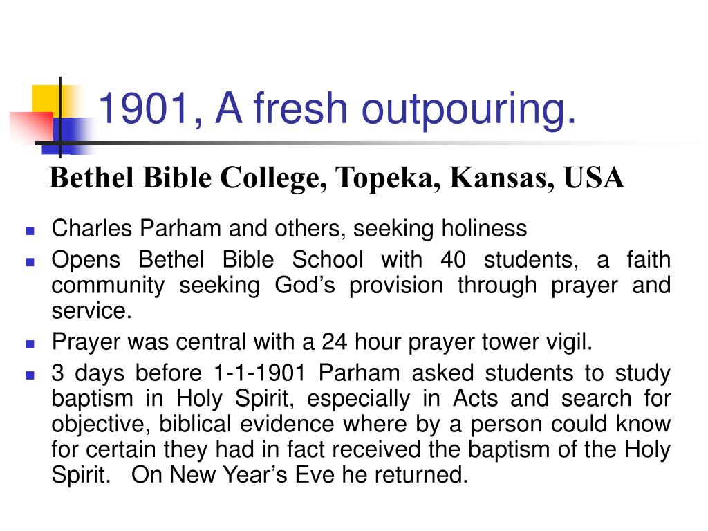 1901, A fresh outpouring.