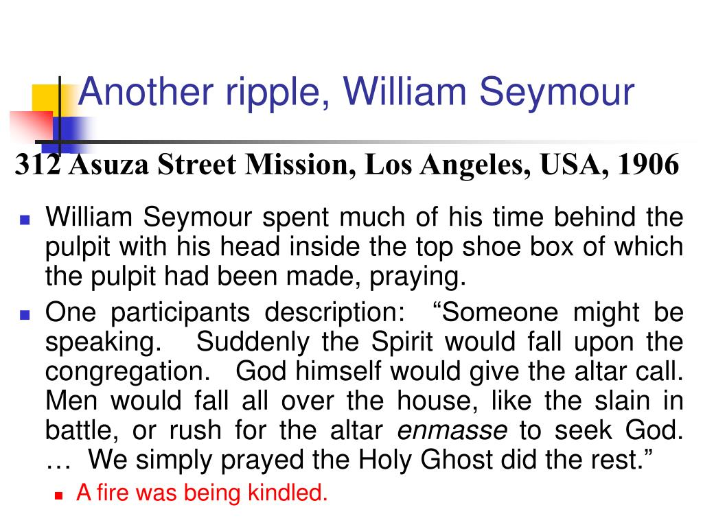 Another ripple, William Seymour