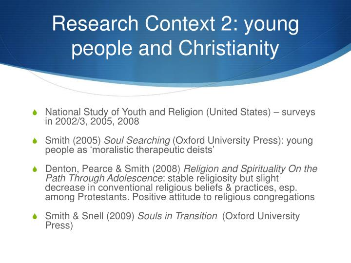 Research Context 2: young people and Christianity