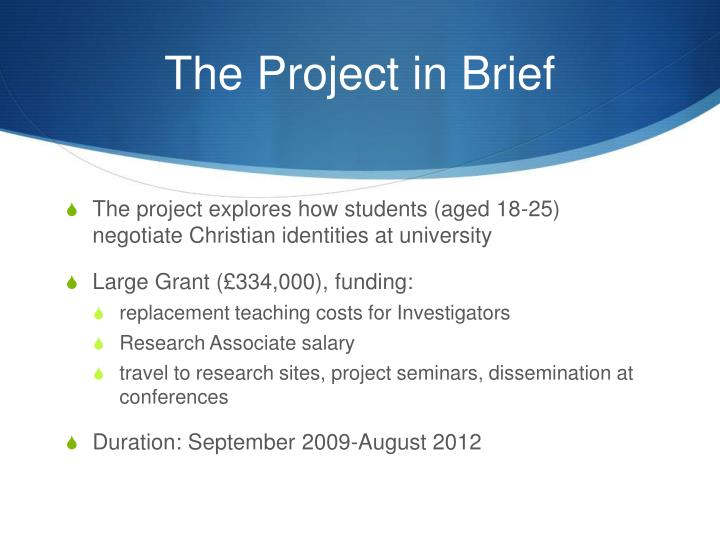 The project in brief