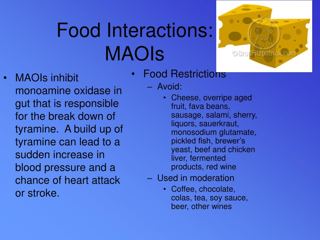 MAOIs inhibit monoamine oxidase in gut that is responsible for the break down of tyramine.  A build up of tyramine can lead to a sudden increase in blood pressure and a chance of heart attack or stroke.