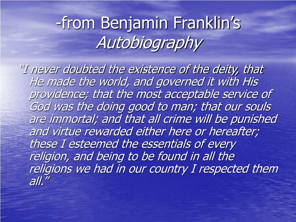 -from Benjamin Franklin's