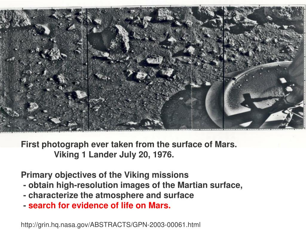 First photograph ever taken from the surface of Mars.