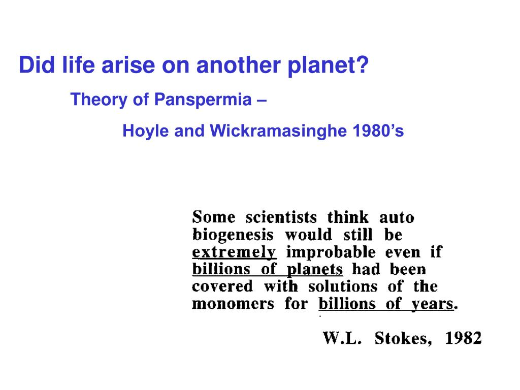 Did life arise on another planet?