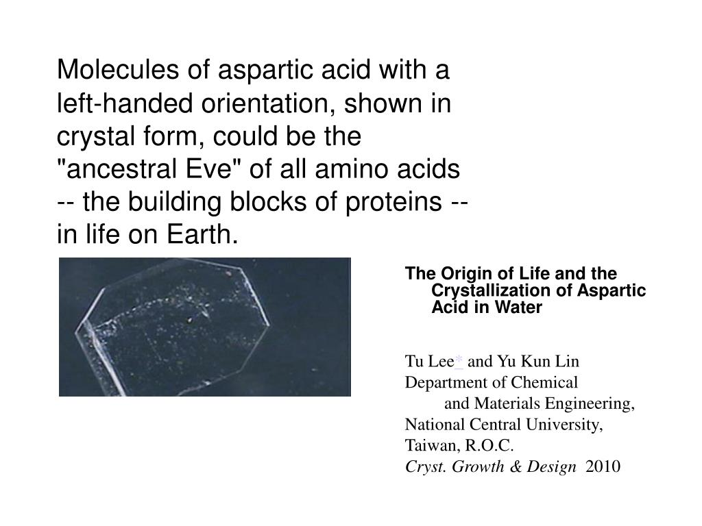 """Molecules of aspartic acid with a left-handed orientation, shown in crystal form, could be the """"ancestral Eve"""" of all amino acids -- the building blocks of proteins -- in life on Earth."""
