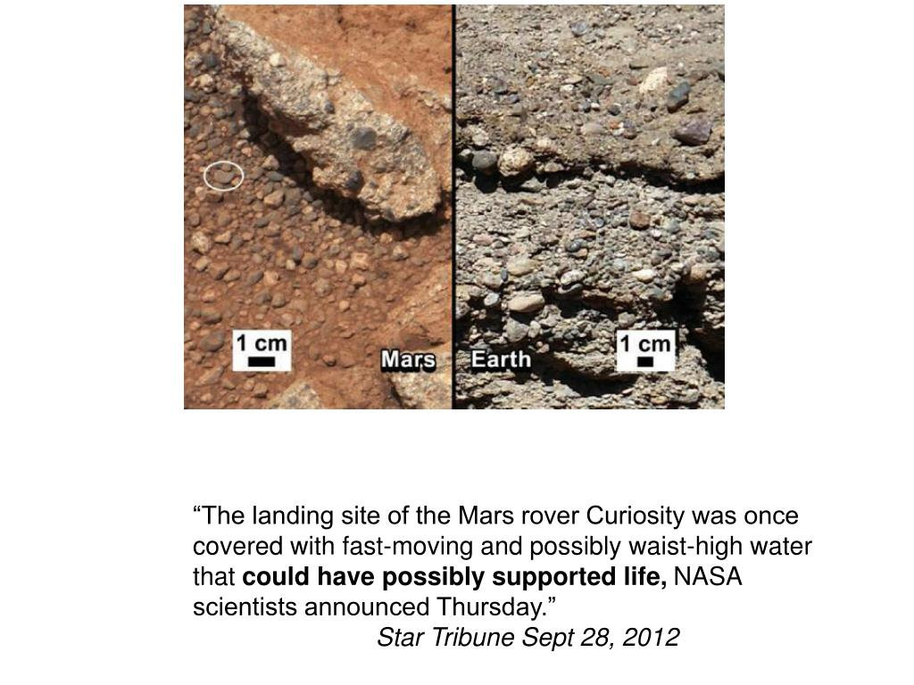 """""""The landing site of the Mars rover Curiosity was once covered with fast-moving and possibly waist-high water that"""