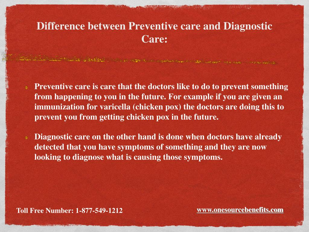 Difference between Preventive care and Diagnostic Care: