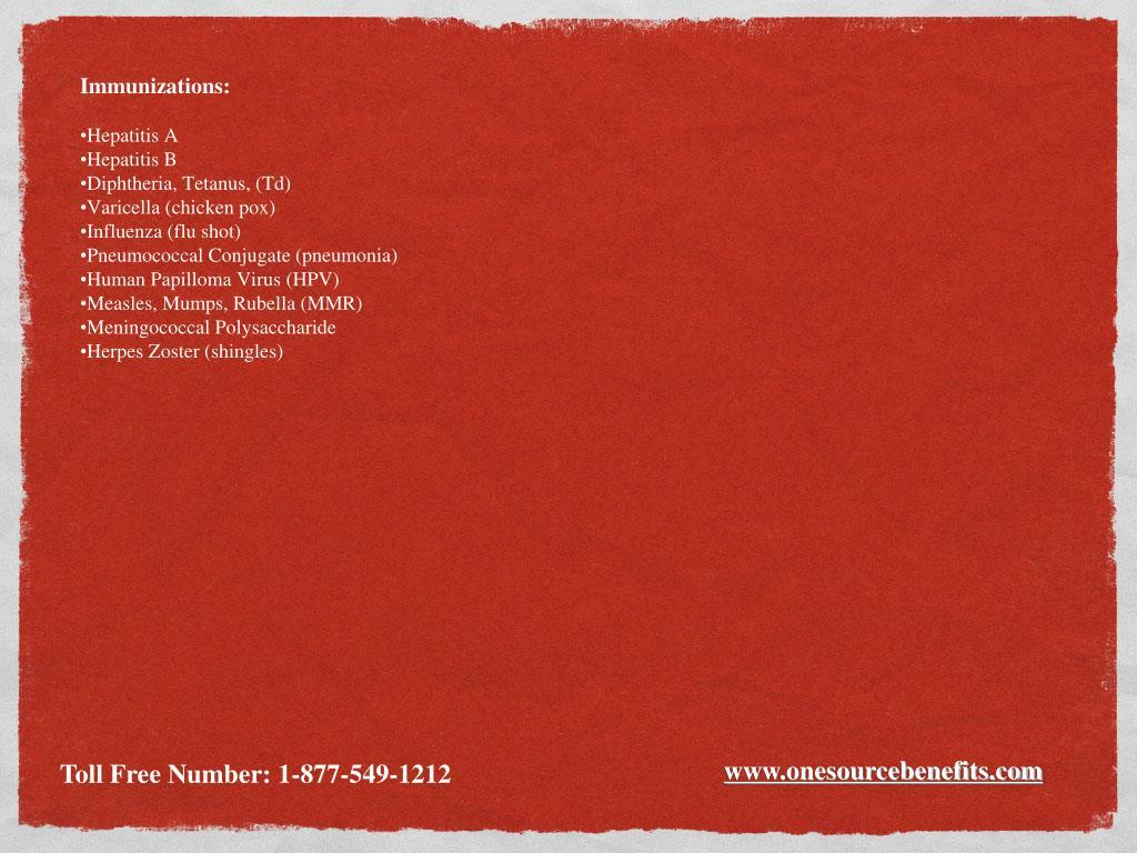 Immunizations: