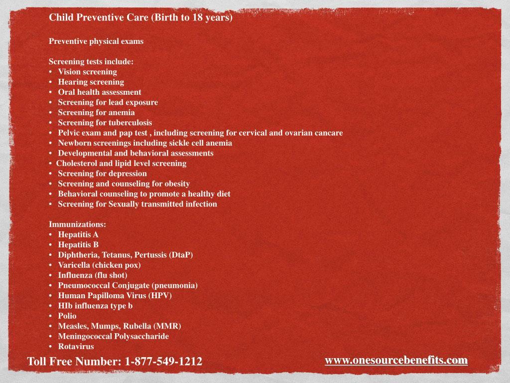 Child Preventive Care (Birth to 18 years)