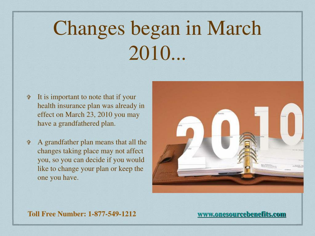 Changes began in March 2010...